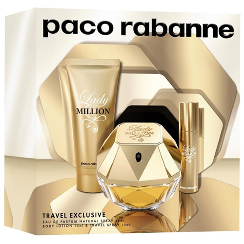 Kit Perfume Lady Million 80ml + Loção corporal + Travel Size - Paco Rabanne